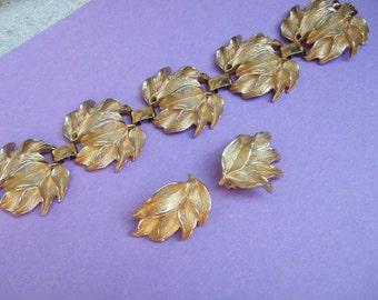 Gilt Metal Foliage Leaf Design Bracelet & Earrings c 1970