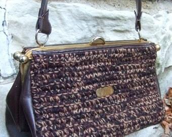 KORET Crochet Knit & Leather Handbag c 1960