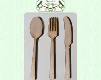 3 Piece Cutlery Wood Cut Outs - Knife, Fork and Spoon