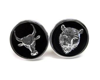 Bull and Bear Investor Cufflinks