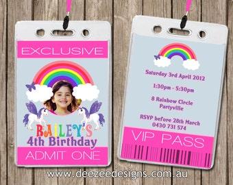 Personalised Rainbow Pony VIP Lanyard Birthday Invitations x 10