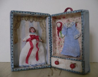 One Inch Scale Dollhouse Miniature Shabby Chic Doll in Case
