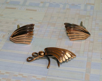 Vintage Copper Demi Parure-  Brooch and Earrings- Moth and Wings - 1950s