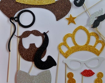 12 Western Photo Booth wedding photo booth mustache on stick mustache bash pipe golden star