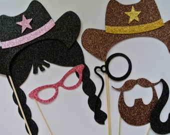7 Western Photo Booth wedding photo booth mustache on stick mustache bash pipe golden star