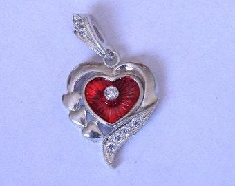 Sterling silver heart enamel pendant