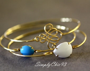 Celtic Knot ,Gold Bangle, Gold Bracelet, Gold Knot, turquoise Bracelet, Milk Glass, Stackable Bangles