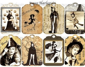 WITCH Sexy Hollywood Pin-Up Tags for Invites, Scrapbook, Decor, Cards, Albums