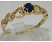 Dainty Natural Blue Sapphire 9K Solid Yellow Gold Open Heart Shoulders Solitaire Ring  Made in England  Customizable
