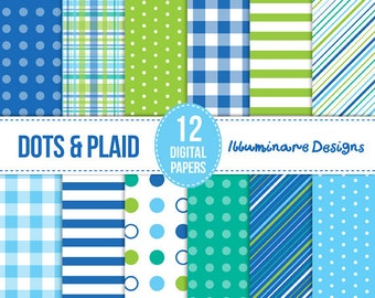 Blue and Green Digital Paper:  Digital Scrapbook Supplies Backgrounds in Blue and Green - Commercial Use OK - Instant Download