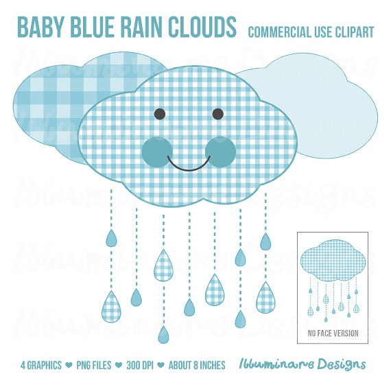 Blue Rain Clouds Clip Art: Baby Shower Clipart, Baby Boy Blue Gingham Cloud    Royalty Free, Commercial Use Ok, INSTANT DOWNLOAD