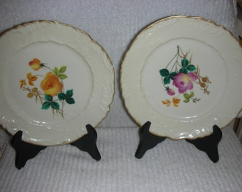 Two 1920'S Limoges Plates With Flowers