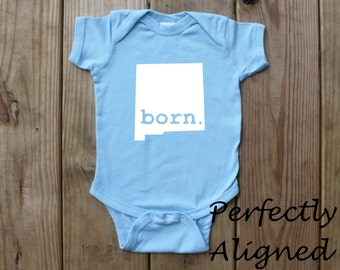 New Mexico Home State with BORN Unisex Infant Bodysuit/Creeper - Baby Boys or Girls