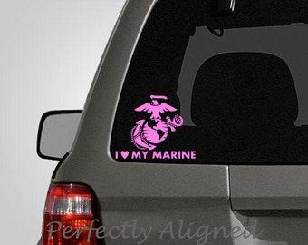 I Heart My Marine -  Spouse Car Decal - Marine wife - Marine decal - army decal - macbook decal - laptop decal