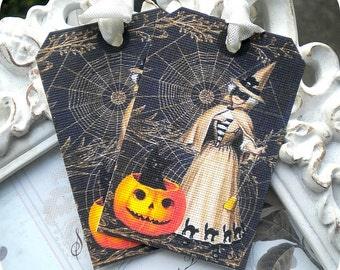 Vintage Victorian Witch Halloween Tags - Set of 6 - Cottage Shabby Chic