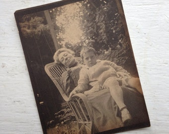 Original Antique Photograph Tired Woman Holds Young Boy with Scowl