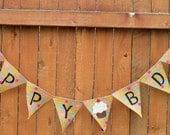 Happy Bday Polka Dot burlap banner with cupcake