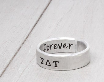 Sigma Delta Tau Ring, Hammered Sorority Ring,personalized jewelry, hand stamped ring, handstamped jewelry, Sorority Jewelry