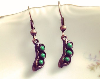 Peas in a Pod Earrings. Tiny Dangle Earrings. Small Brass Vintage Style Earrings. Whimsical. Oddities. Best Friends Gifts. Love. Cute. Green