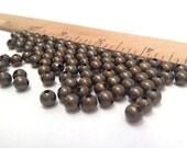 100pc - 5mm Oxidized Round Brass Beads