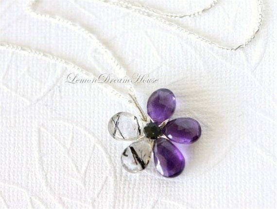 Gemstone Flower Necklace, African Amethyst and Black Rutilated Quartz Faceted Pear Briolettes, Sterling Silver Chain and Wire. Gift. N031.
