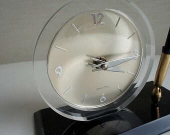 Lucite Clock Mid Century Modern Vintage Marion-Kay