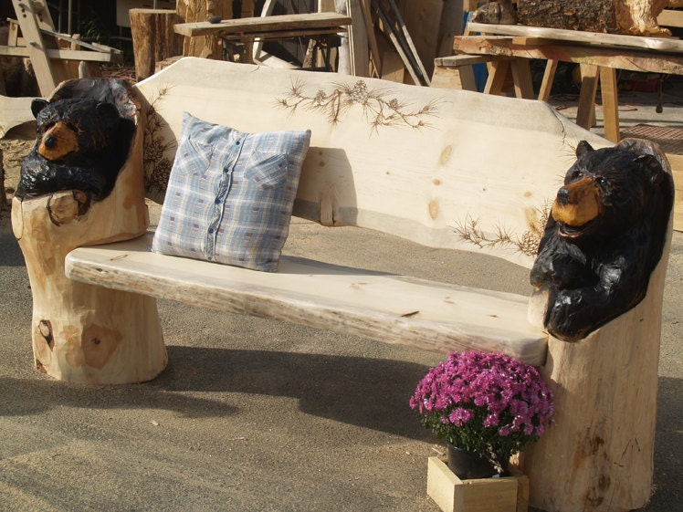 Rustic Bench Log Furniture Chainsaw Carved Bear By Woodzwayz