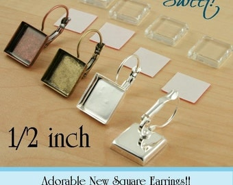 12 SQUARE 1/2 inch Leverback Earring Bezels. Silver, Bronze, Antique Copper  - Blank Bezel - Makes 6 Pair - Ships from USA