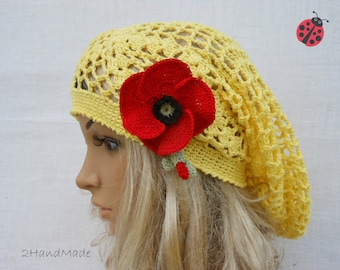 Lace Crochet Tam Dreads Hat Oversized Beret Slouchy Beanie Boho Women Girl Yellow Summer 2013 Cotton Vintage Style jewelry Flower brooch