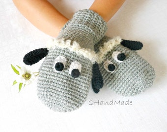 Sheep Lamb Crochet Gloves Mittens Animal Puppet Unisex Boy Girl Teen Women Men Chunky Merino Wool Funny Grey Gray Black Hand Warmer Woodland