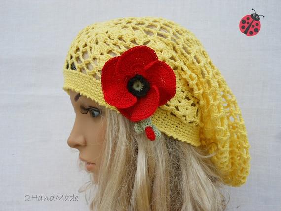 Lace Crochet Tam Dreads Hat Oversized Beret Slouchy Beanie Boho Women Girl Yellow Summer 2013 Cotton Vintage Style jewelry Flower brooch
