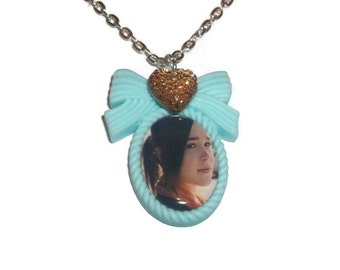 Ellen Page Necklace, Pastel Mint Green Cameo Necklace, Quirky Kitsch Jewelry