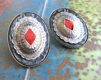 Southwestern earrings clip on black leather and silver domed design red suede vintage rodeo