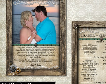 Rustic Wood Frame Wedding Program - DIgital Invitation 5x7 with floral metal buttons and beads (faux)