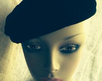 VINTAGE Black Velvet Hat Tam