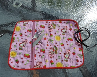Table cloth strawberry shortcake rolled placemat with utencil pocket for school lunch