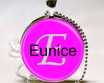 Eunice Name Pendant Name Monogram Handcrafted  Necklace Pendant (NPD1468)