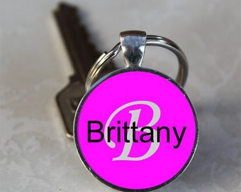 Brittany Name Monogram Handcrafted Glass Dome Keychain (GDNKC0377)