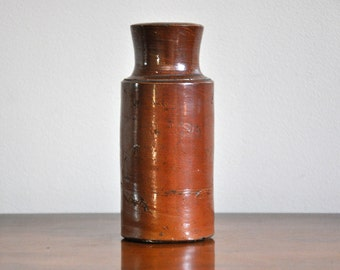 Vintage Ceramic Wood-Fired Vase Bottle - Rustic Handmade Stoneware