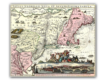 "16x21"" Canvas Print Totius Neobelgii Pink Vintage map USA NEw England Old map of the world, gift hor Him. Christmass gift"