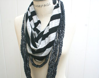 T-shirt Necklaces scarf, unique Women Scarves, Black White Loop Scarf, Summer Fashion - by PIYOYO