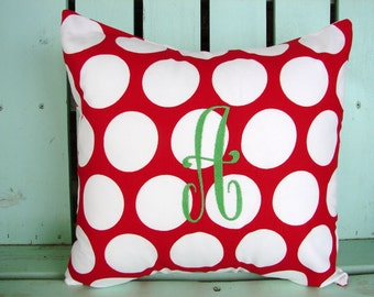 red white polka dot large initial monogram-Christmas pillow cover-Decorative pillow cover-gifts under 30-throw pillow-accent pillow