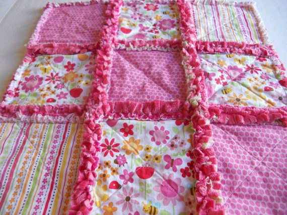 Lady Bug and Bumble Bees Minky Rag Quilt Lovey by AChildsHeirloom