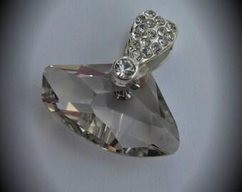 6657 Genuine 27mm Horizontal Galactic Silver Plated Swarovski Crystal Silver Shade Pendant