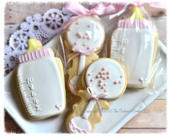 Decorated Baby Bottle and Baby Rattle, Pink, White, Yellow Babyshower, Shortbread Cookie Favors