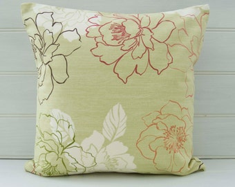Green Floral Cushion Cover - size 40cm - Made in the UK