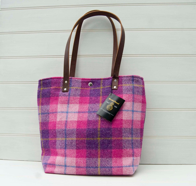 pink tote bag harris tweed plaid tartan leather straps