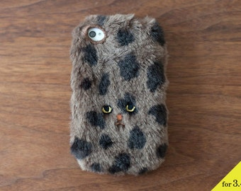 Dot Cat iPhone case for iPhone3 / 4 / 4s [soft type] Brown