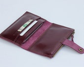 Leather iPhone Wallet with iron-zipper pocket in Dark Purple (For iPhone4/4s, iPhone5/5s)