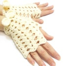 Crochet gloves, Mesh gloves, Mittens, Fingerless Gloves, Cream, Crochet fingerless gloves, Sexy, Teenage, Victorian gloves, Tie, Boho mitten